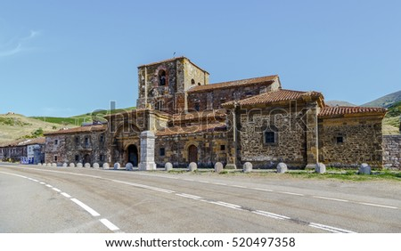 Collegiate church of Santa Maria de Arbas the port houses along the road in the province of Leon in Spain
