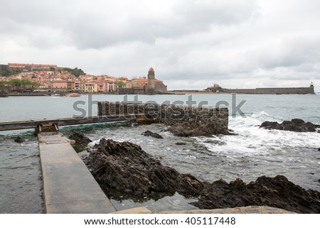 Collioure city and the bay in France  - stock photo