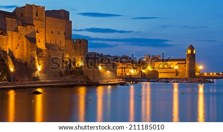 Collioure, coastal village in the south of France at night - stock photo