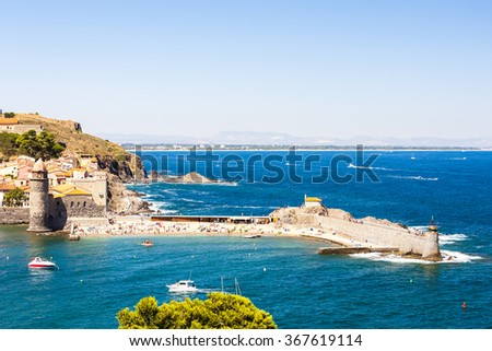 Collioure harbour, Languedoc-Roussillon, France - stock photo