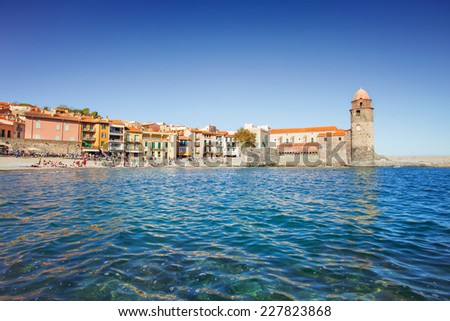 Collioure, Mediterranean village in the South of France - stock photo