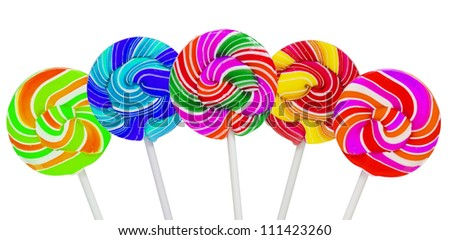 Collorful lollipop on white background - stock photo