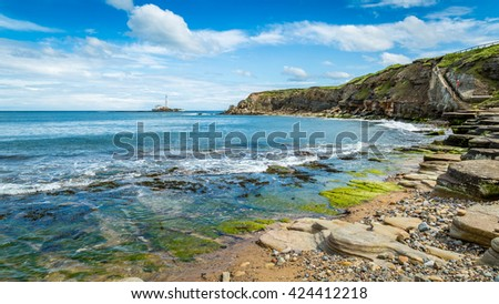 Collywell Bay on the Northumberland coast, England - stock photo