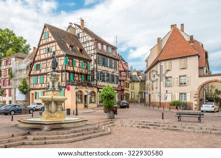 COLMAR,FRANCE - AUGUST 28,2015 - In the streets of Colmar city.Colmar was founded in the 9th century.Through Colmar running the Lauch river.