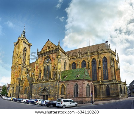 COLMAR, FRANCE - JULY 13, 2015: Collegiate church Saint Martin is the most imposing Gothic church in Middle Alsace. Erected from 1235.
