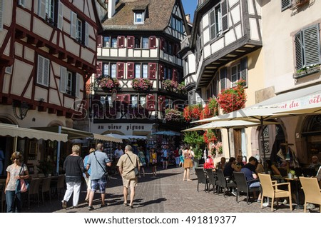 COLMAR, FRANCE - SEPTEMBER 12: Typical view at Rue des Marchands in the city of Colmar in France on September 12, 2016.