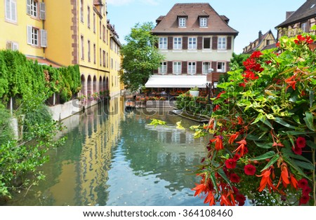 Colmar, Petit Venice, water canal and traditional colorful houses. Alsace, France - stock photo