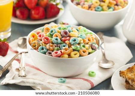 Coloful Fruit Cereal Loops in a Bowl - stock photo