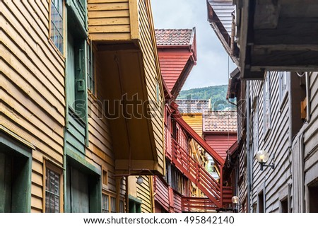 Coloful houses in Bryggen, Bergen, Norway