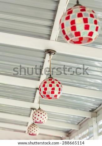 Coloful of nice tall floor lamp - stock photo
