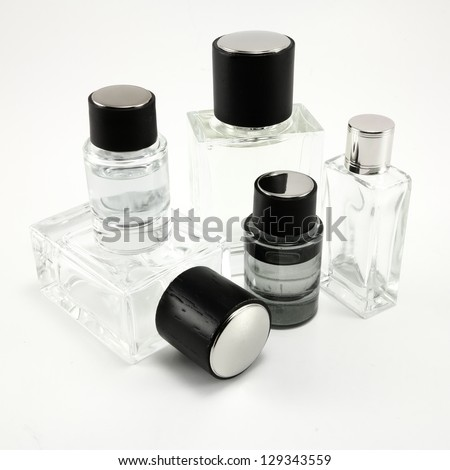 Cologne and perfume bottles on a white background