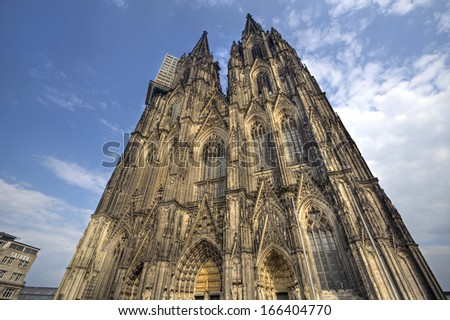 Cologne Cathedral against a blue evening sky in Cologne, Germany - stock photo