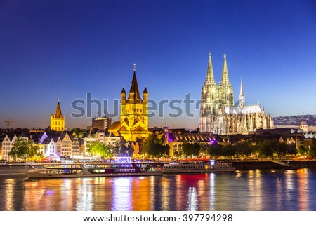 Cologne Cathedral along river rhine Germany. - stock photo