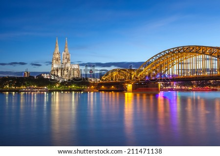 Cologne Cathedral and city skyline Germany - stock photo