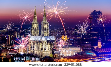 Cologne Cathedral at New Year's Eve - stock photo