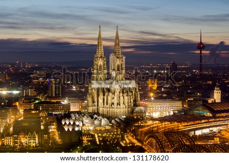 cologne city night - stock photo