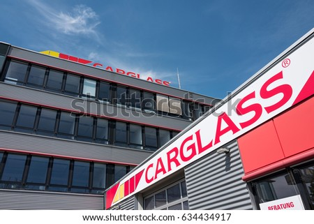 COLOGNE, GERMANY - April 30, 2017: Carglass GmbH headquarters in Cologne. Carglass is an international vehicle glass repair and replacement group owned by South African Belron.