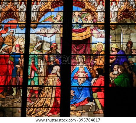 COLOGNE, GERMANY - APRIL 21, 2010: Epiphany - Adoration of the Magi - Stained Glass in Dom of Cologne, Germany