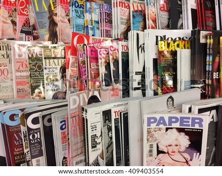Cologne,Germany- April 17, 2016: Popular british magazin in a store in Cologne. - stock photo
