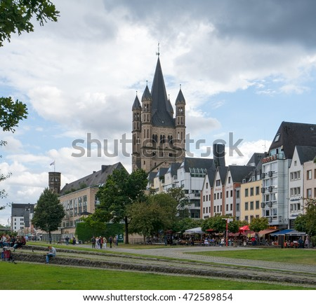 COLOGNE, GERMANY - AUGUST 21: Roman church Gross Sankt Martin and the old town of Cologne, Germany on AUGUST 21..