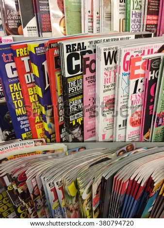Cologne,Germany- February 23,2016: Popular british magazines on display in a store in Cologne,Germany.    - stock photo