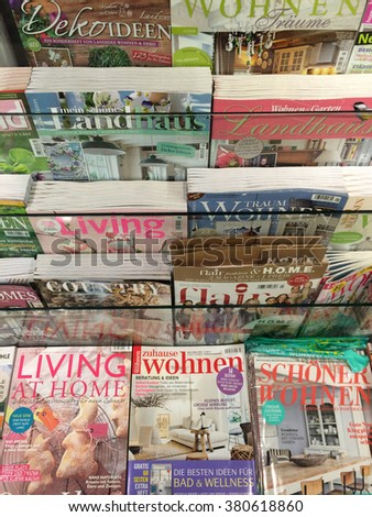 Cologne,Germany- February 23,2016: Popular German lifestyle magazines on display in a store in Cologne,Germany.    - stock photo