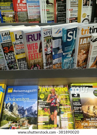 Cologne,Germany- February 25,2016: Popular german sport magazines on display in a store in Cologne,Germany.  - stock photo
