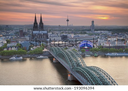 Cologne, Germany. Image of Cologne with Cologne Cathedral during sunset. - stock photo