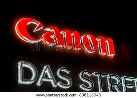 Cologne, Germany - January 29, 2017: Canon shop. That is a Japanese multinational corporation manufacturing imaging and optical products, including cameras, camcorders, photocopiers, computer printers