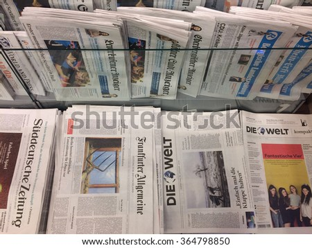 Cologne,Germany- January 19, 2016: Popular german newspaper in german language on display in a store on the central station(Cologne,Germany) - stock photo