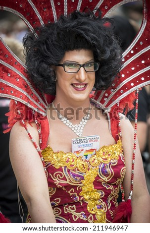 Cologne, Germany - July 06: Person dressed in an elaborate costumes takes part in the St Cristopher Street day parade in central Cologne on July 06,2014.