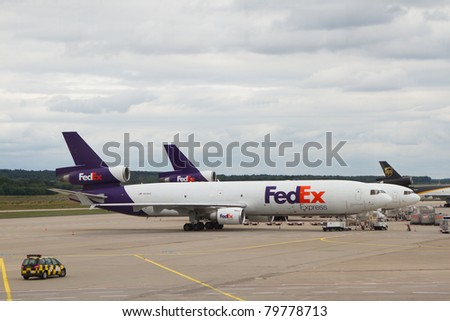 COLOGNE, GERMANY - JUNE 13: Fedex McDonnell Douglas DC-10 airplane in Cologne airport, Germany on June 23, 2011. Fedex is the biggest shipping/cargo company in the world serve over 300 destinations worldwide