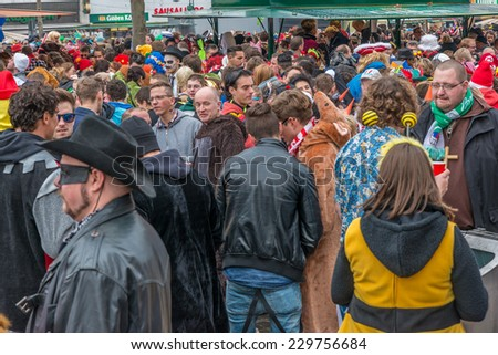 COLOGNE, GERMANY 11 NOVEMBER 2014 - Unidentified persons at the opening of the 2014 fifth season (carnival season), the event officially opens on the 11th day of the 11th month at 11 minutes past 11