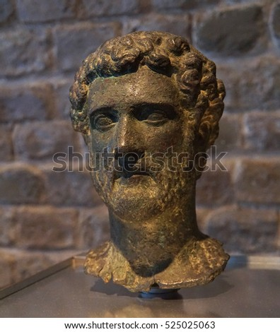 COLOGNE, GERMANY - SEP 15, 2016 - Bust of Roman Emperor Antoninus Pius,  Roman - Germanic Museum,  Cologne, Germany