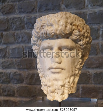 COLOGNE, GERMANY - SEP 15, 2016 - Bust of Roman Emperor Lucius Verus,  Roman - Germanic Museum,  Cologne, Germany