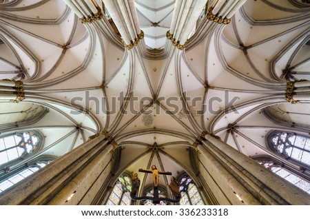 COLOGNE, GERMANY - SEP 17, 2015: Ceiling of the Cologne Cathedral. Roman Catholic cathedral. It is a renowned monument of German Catholicism and Gothic architecture and is a World Heritage Site.