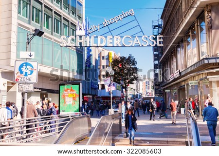 COLOGNE, GERMANY - SEPTEMBER 29, 2015: sign of the Schildergasse in Cologne at the entrance. The Schildergasse is with about 13000 visitors an hour the second most visited shopping street in Germany.