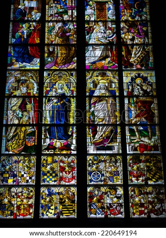 COLOGNE, GERMANY - SEPTEMBER 21: Stained glass church window with Pentecost theme in the cathedral on September 21, 2014 in Cologne