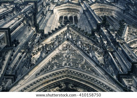 COLOGNE, GERMANY: The entrance of the Cologne Cathedral shows the 19th century decoration. Marble figures of saints on the facade. World Heritage Site. - stock photo