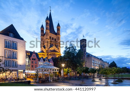 Cologne old city after sunset