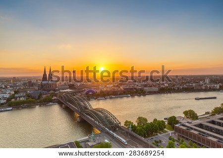 Cologne sunset Skyline in germany - stock photo