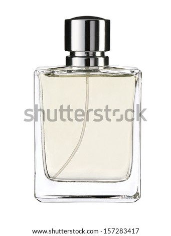 Cologne water / studio photography of transparent bottle with essence - isolated on white background