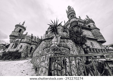 Colomares Castle, black and white. Castle dedicated to the explorer and navigator Christopher Columbus. Benalmadena town. Province of Malaga. Andalusia. Spain