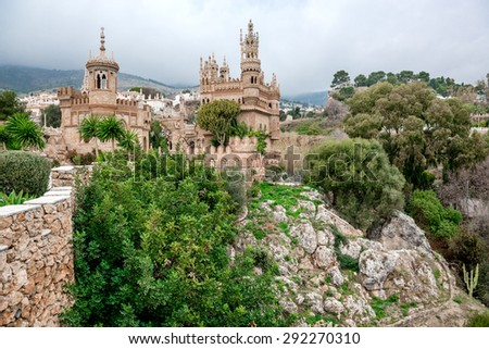 Colomares Castle. Castle dedicated to the explorer and navigator Christopher Columbus. Benalmadena town. Province of Malaga. Andalusia. Spain - stock photo