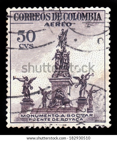 COLOMBIA - CIRCA 1954: A postage stamp printed in Colombia shows the Monumento a Bolivar, Puente de Boyaca, circa 1954 - stock photo