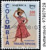 COLOMBIA - CIRCA 1996: A stamp printed in Colombia dedicated to traditional dress, shows palenquera, circa 1996 - stock photo