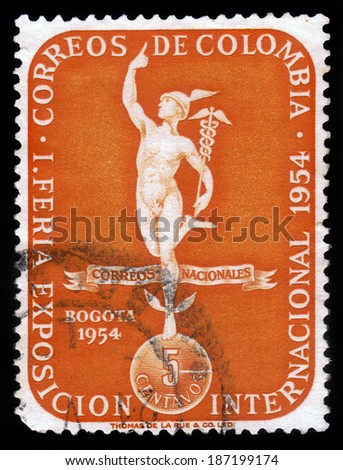 COLOMBIA - CIRCA 1954: A stamp printed in Colombia showing god of commerce Mercury, symbol of I international fair exhibition in Bogota, circa 1954 - stock photo