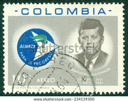 COLOMBIA - CIRCA 1963: A stamp printed in Colombia showing John F. Kennedy, circa 1963 - stock photo