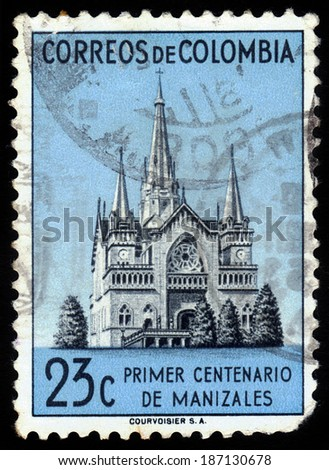 COLOMBIA - CIRCA 1952: A stamp printed in Colombia showing the Cathedral of Manizales, a neo-gothic church, circa 1952 - stock photo