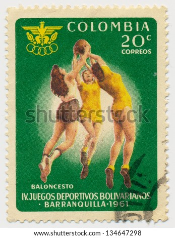 COLOMBIA - CIRCA 1961: A stamp printed in Colombia, shows Basketball, circa 1961 - stock photo